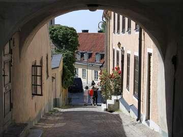 Cobbled street in Visby (Sweden)