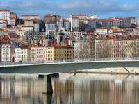 Croix-Rousse district on the Saône river (France)