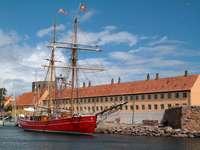 Lilla Dan sailing ship at Christiansø (Denmark)