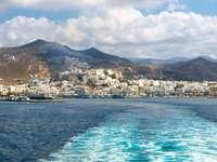 Panorama van de stad Naxos in de Cycladen (Griekenland)