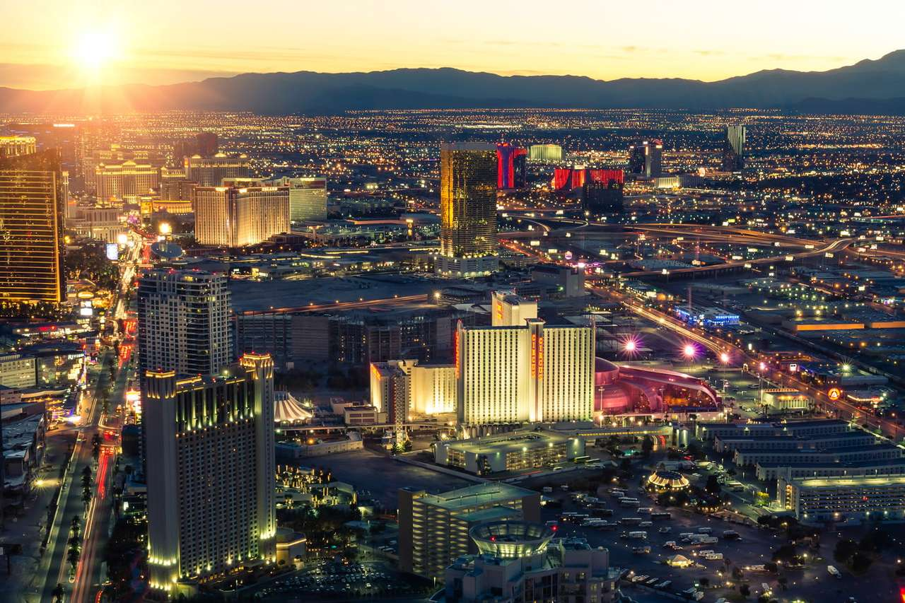 Las Vegas panorama at sunset (USA) - Las Vegas is the city located in the south-west of the United States and is known all over the world as the capital of gambling, city of entertainment, lights and fast weddings. Las Vegas got its fame (12×8)