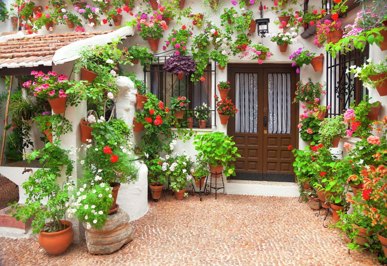 Flowers in pots - Lush, colorful flowers in traditional clay pots or flowerbeds are a popular way of decorating tenement and detached houses in the Mediterranean countries. Crimson red, pink and purple flowers contrast (12×9)