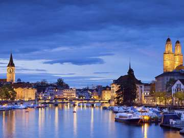 Evening panorama of Zurich (Switzerland)