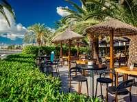 The restaurant on the beach in Ibiza (Spain)