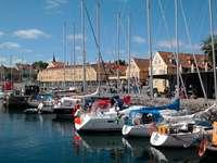 Yachts at Svaneke marina (Denmark)