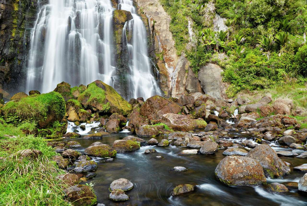 Waterfall on the river Marokopa (New Zealand) - The Marokopa is a river flowing through the Waikato region of the North Island belonging to New Zealand. There is a thirty-meter waterfall on the river. It is located in the heart of the forest and lo (11×8)