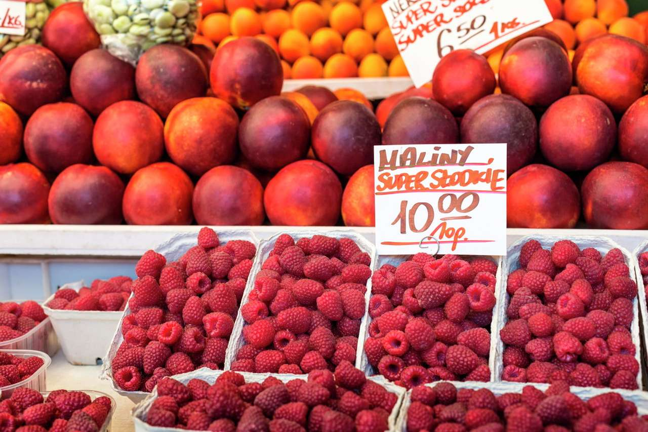 Raspberries on the market puzzle from photo