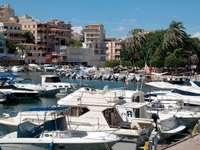Motorboats in the marina of Porto Cristo (Spain)