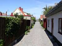 Narrow street in Visby (Sweden)