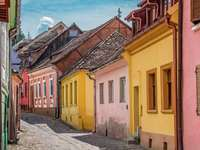 Colorful houses in the town of Sighișoara (Romania)