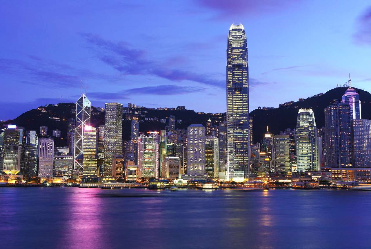 Evening panorama of Hong Kong (China) - Hong Kong is a special administrative district of the People's Republic of China, located on the Kowloon peninsula and several nearby islands. For many years, it was controlled by the British Empire (7×5)