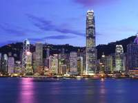 Panorama nocturno de Hong Kong (China)