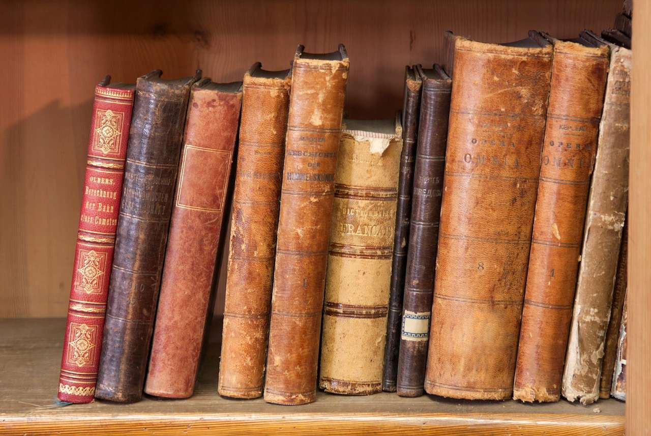 Old books - The history of the book has a few thousand years. Historically, literary texts were written on papyrus rolls, which gradually began to be displaced by more durable parchment, the material which is mad (14×9)