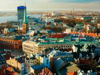 Panorama of Riga with the Church of St Peter (Latvia)