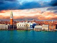 Panorama of Venice at sunset (Italy)