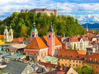 Panorama of the old town of Ljubljana (Slovenia)