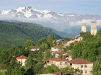Panorama of Upper Svanetia mountain village (Georgia)