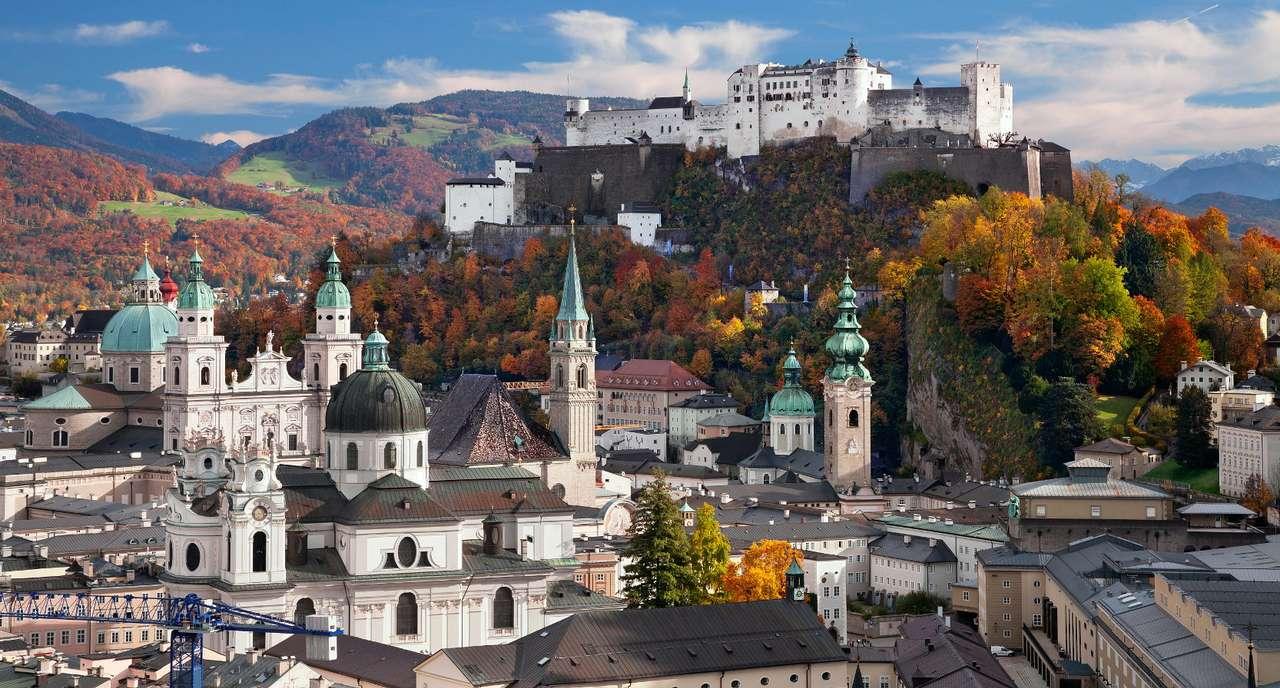 Autumn panorama of Salzburg (Austria)