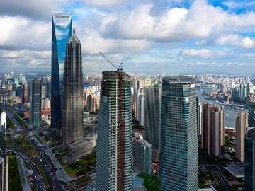 Panorama of Pudong district (China)