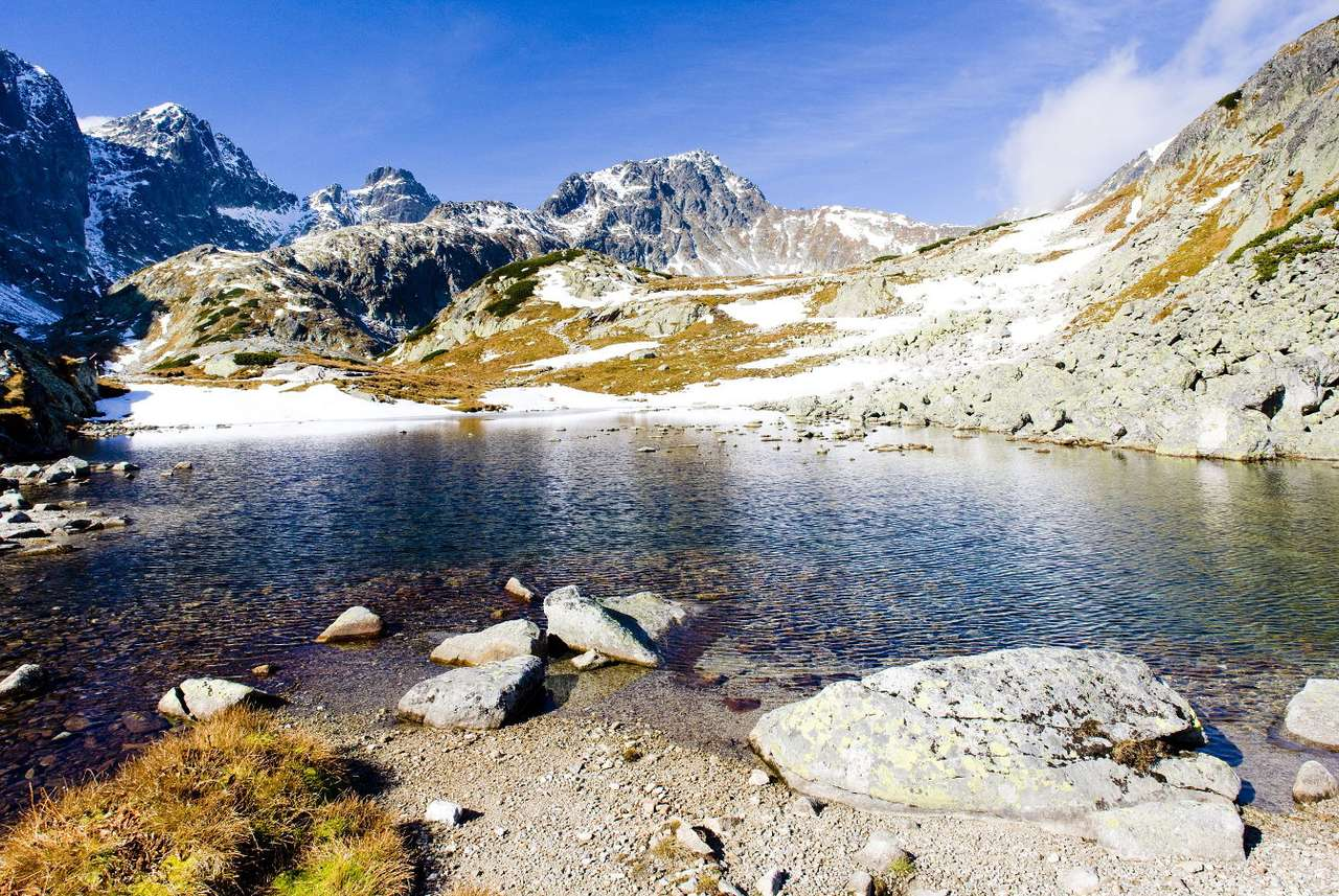 Lakes in the High Tatras (Slovakia) - The High Tatras is the highest fragment of the Tatra Mountains located in Poland and Slovakia. The range is adorned by post-glacial bodies of water, usually tarns and moraine-dammed lakes. Most of the (8×5)