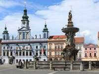 Samsons fontän i České Budějovice (Tjeckien)
