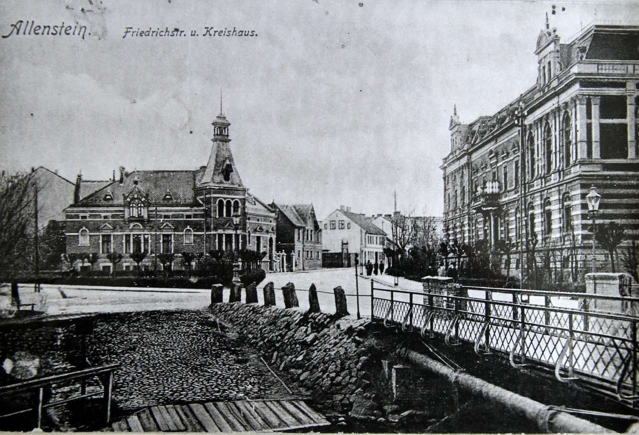 Friedrichstraße in Olsztyn - 'Friederichstraße' - now Feliksa Szrajbera street -  around 1911. The building on the left site was built between 1894-1895. This building was named the Beyer Villa after a industrialist, Louis B (8×6)