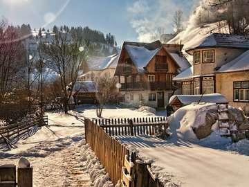 Winter in a Carpathian village (Romania)