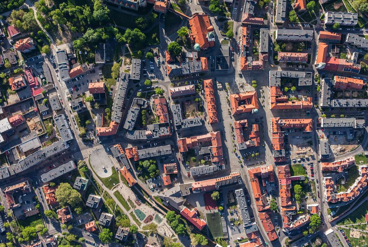 Bird's eye view of Oleśnica (Poland) - Oleśnica is located on the river of the same name in the Lower Silesia Voivodship. It gained urban rights in the 13th century. Among the most important historical monuments located in the town there (17×11)