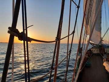 Deck of Zawisza Czarny just before sunset