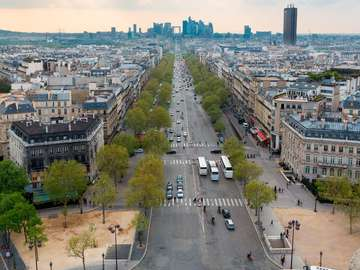 Panorama of Paris seen from the Arc de Triomphe (France)