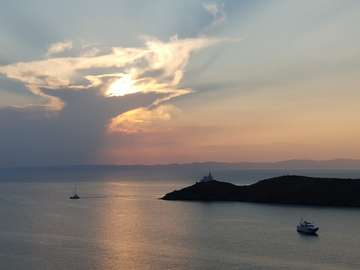 View from the island of Kea to Makronisos (Greece)