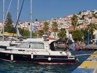Yachts at the marina in Poros (Greece)