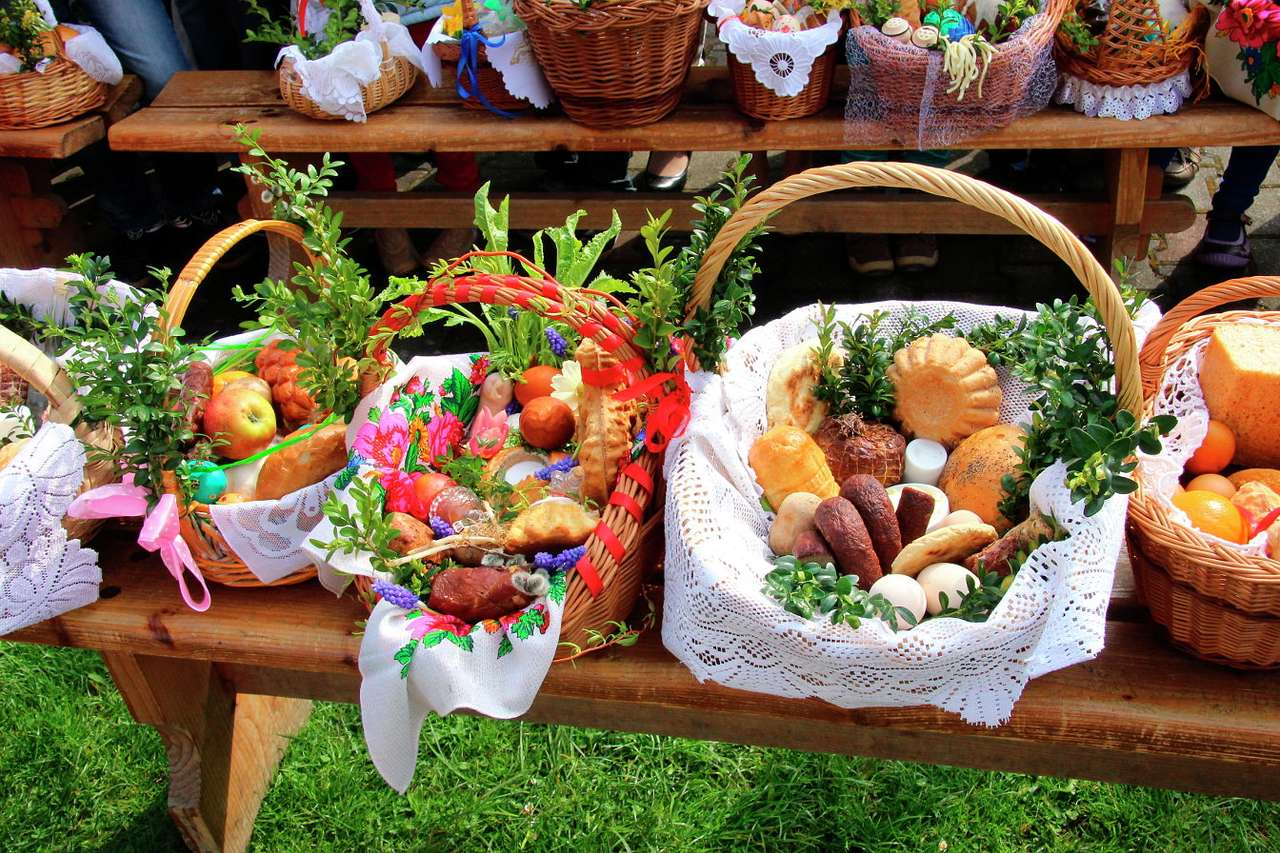 Traditional Easter baskets prepared for blessing - Blessing of Easter food samplings is a Catholic tradition cultivated in some European countries. On the eve of Easter breakfast believers go to church in order to have foods blessed – these samples (12×8)