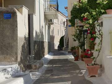 Street in the town of Poros (Greece)