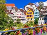Colorful tenement houses on the Neckar river in Tübingen (Germany)
