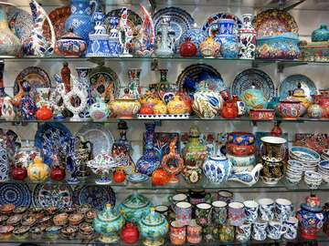 Shop with ceramics in Jerusalem (Israel)
