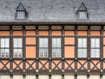 Wall of the town hall in Wernigerode (Germany)