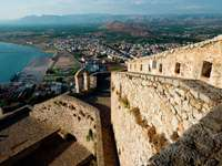 The walls of Palamidi fortress in Nafplio (Greece)