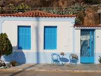 Buildings on the main street of Poros (Greece)