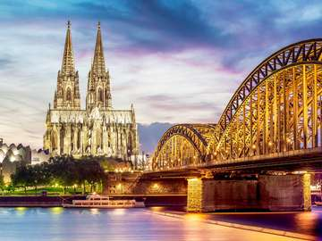 Hohenzollern Bridge and Cologne Cathedral (Germany)
