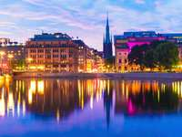Evening panorama of Stockholm (Sweden)