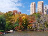 Lake in autumn Central Park (USA)