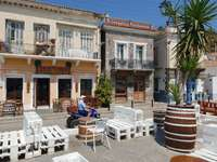 Buildings at the waterfront of Poros (Greece)