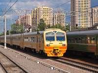 Suburban train in Moscow (Russia)
