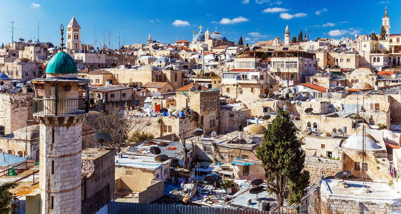 Panorama of Jerusalem (Israel) - Jerusalem is the capital and the largest city of Israel. It lies on the mountainous areas between the Dead Sea and the Mediterranean Sea. The Old City covers an area of less than a square kilometer. I (16×10)