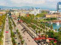 Panorama of Barcelona from the Columbus Monument (Spain)