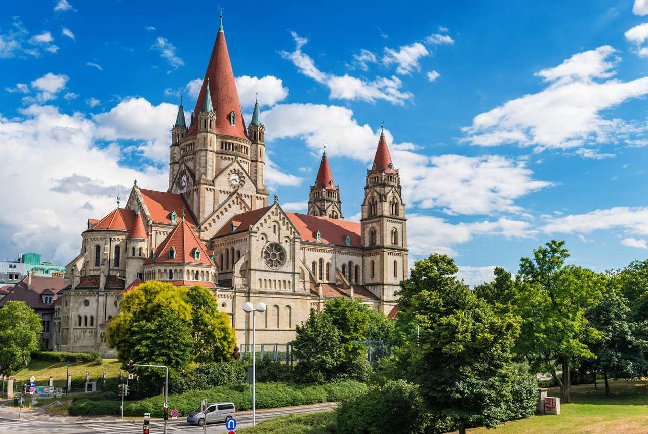 Church of St. Francis of Assisi in Vienna (Austria) - Vienna is a large Austrian city located on the Danube. Franz-von-Assisi-Kirche, i.e. the church of St. Francis of Assisi is one of the most recognizable buildings in Vienna, it is located in the south (8×6)