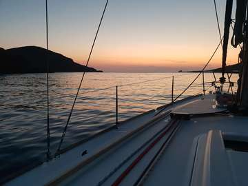Yacht in Fikhiada Bay on Kythnos (Greece)