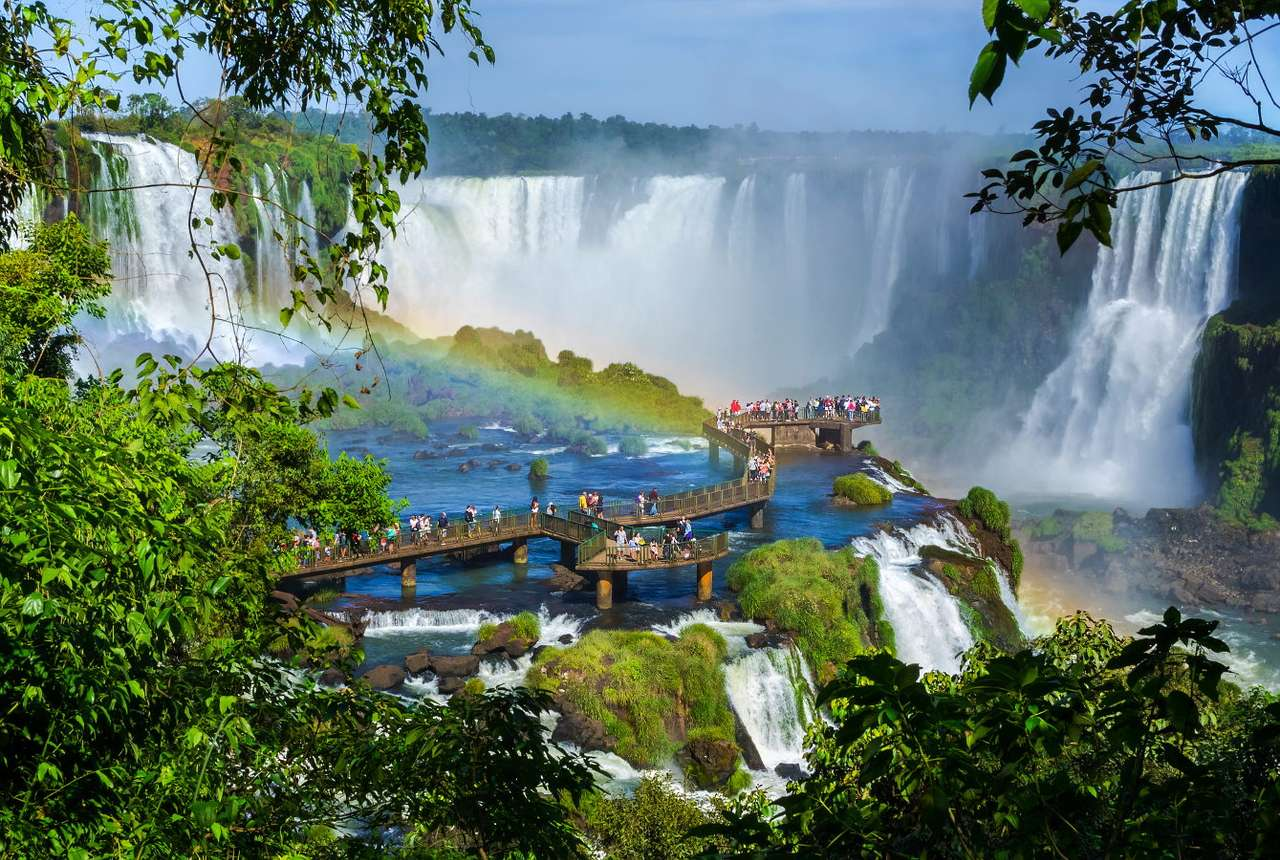 Bridge at Iguazú Falls (Argentina /Brazil) - Iguazú Falls are located on the border between Argentina and Brazil, where the Iguaçu River flows down from the plateau, joining the Parana River. The waterfall has a width of two kilometers and con (13×9)