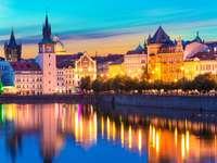 Old Town of Prague on the river Vltava  (Czech Republic)